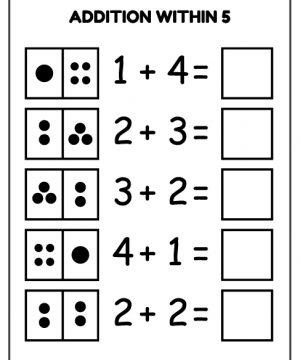 addition, within, 5, download, free, homework, kids, missing, number, pdf, printable, school, work, worksheet
