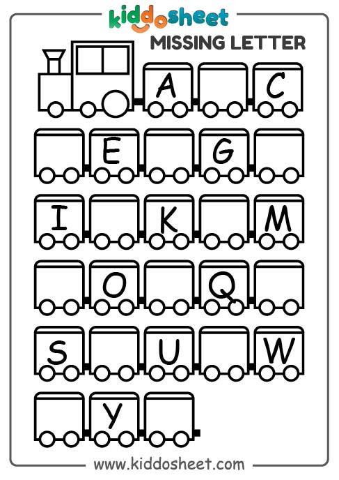missing letter worksheet, missing letter worksheet for preschool, kindergarten missing letter worksheet