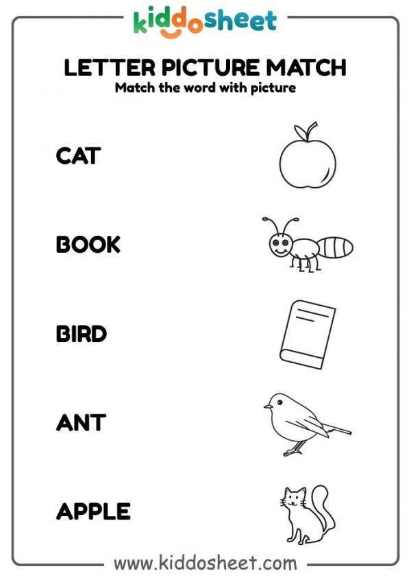 letter match picture, printable letter picture match, letter picture, picture match worksheet,